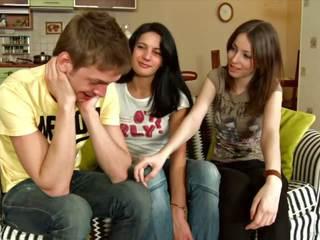Playful girls realizing threesome dream.