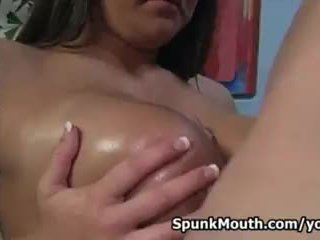 Classic big tit hottie Lizzy Styles sensational tittyfucking for a Spunkmouth