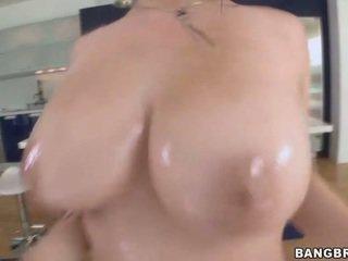 een brunette, hardcore sex actie, mooi zuig-