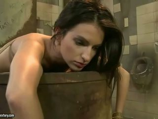 Mistress punishing hot beauty in public toilet