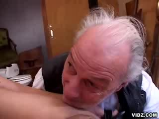 Chick allows grand dad's cock to wander