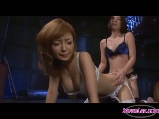 Asian Girl In White Lingerie Fucked With Strapon On The Mattress In The Basement