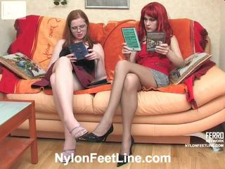 Joanna And Veronica Pantyhose Footfuck Movie Action