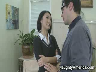 cutie Schoolgirl Evelyn forcing her way!