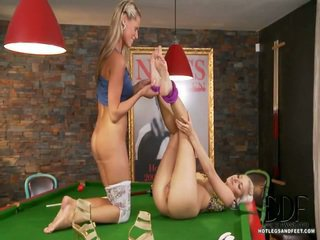 Newcomer Sandra Hill Meets Bianca In A Billiards Room For Some Lesbie Toe Fun. They Kiss And Lean Over A Pool Table, Demonstrating Off Their Long Legs In Colorful Tights And Erotic Shoes. B