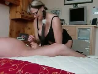 Mom with perfect big tits handjob Video