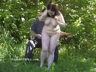 Outdoor bdsm of bbw slave in stinging nettle