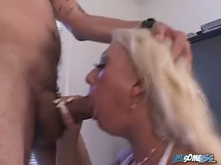 Blonde Victoria Spencer gets so teased with a cock pointing hard on her mouth
