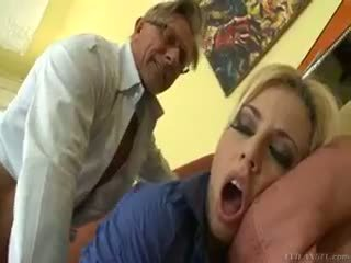 Hot Blonde Jessie Volt Rides Old Guy On Couch And Eats Cum