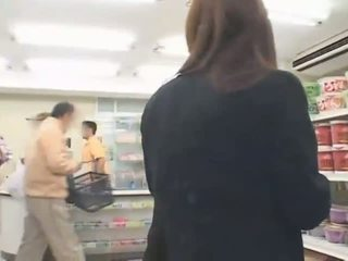 Busty Japanese Hitomi Tanaka has sex in the shop