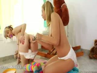 lesbisch, vol blond, tiener