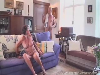 Grey Haired GrAnny Sofie Takes The Twin Dipping Of Giant Jock