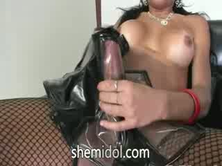 Busty shemale in pants in leather