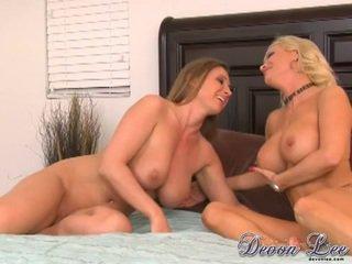 brunette, kut likken vid, controleren lesbiennes actie