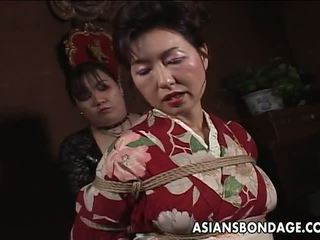 Asian Old In Kimono Has Constrained Up