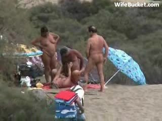 Spying Swinger Couple Fucking at the Beach