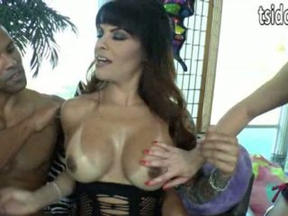 TS Foxxy makes threesome wish come true for Katie St Ives and guy