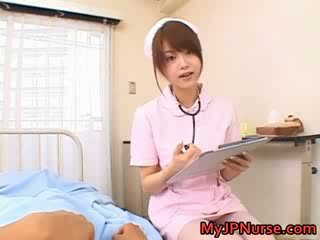 Beautiful asian nurse enjoys sex