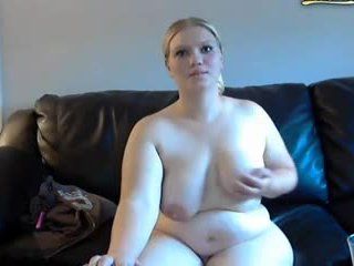 Chubby wife gets spanked and masturbates on webcam