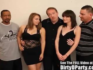 Two Cum Swapping Teens Dirty Gangbang!