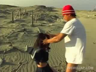 Asia school cutie forced to give bukkake in pov at the pantai