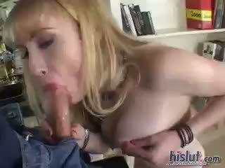 mooi pijpbeurt, controleren cumshot video-, kwaliteit blond