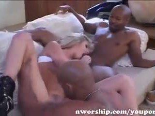 Hot Blonde Sucks And Fucks Two Big Black Cocks