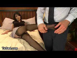Stunning Eva Lin plays with guys cock