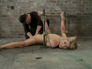 Flexible Blond Milf Is Tied In The Splits We Cane Flog Make This Mom Cum Like A Whore