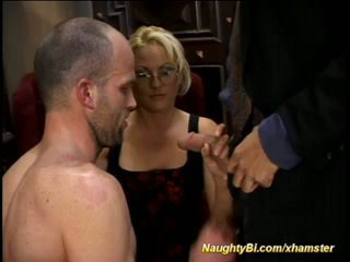 Blonde doll fucks bisexual fellows