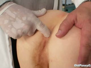 Dirty old granny gets her hirsute examined by kinky gyno