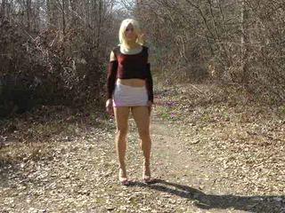crossdresser video, full solo film, outdoor mov