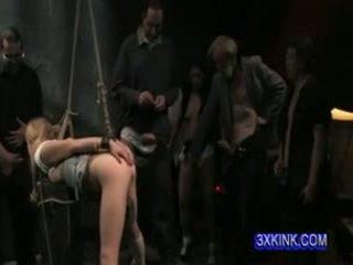 sl;utty little cunt tied and fucking her dirty little as