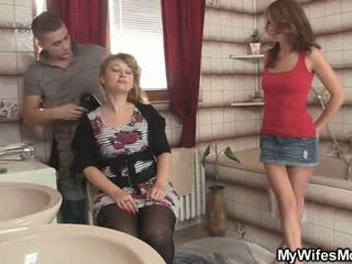 watch brunette new, hot blowjob watch, threesome rated