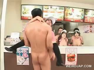 Asian Fast Food Group Sex With Teen Dolls Nailed Hardcore