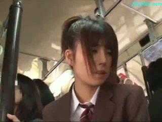 Văn phòng phụ nữ stimulated với máy rung giving blowjob trên cô ấy knees trên các xe buýt