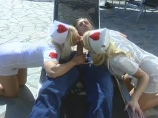 Blonde nurses doing first aid action