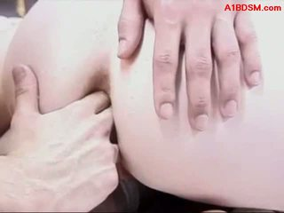 Hogtied Girl Getting Her Asshole Fucked On The Bed