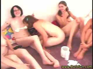 College amateur party game chick lez oral