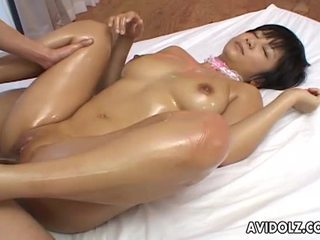 Sexy asian meguru kosaka enjoys oiled double fuck