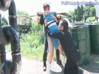 you blowjob, see cosplay mov, outdoor action