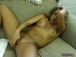 Nasty blondie Jules play with a kinky vibrator
