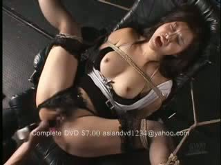 Hot Asian Woman Tied To A Chair In Some Tight Bodnage legs Spread And Raped Dildo Fucked Until She Cums