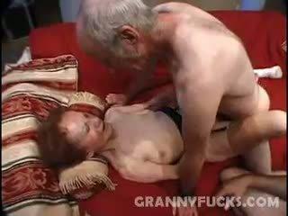 granny, cumshot, threesome, mature