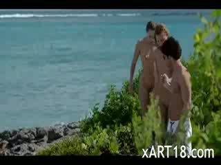 Unique Xmass vacation beach threesome
