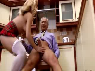 Sexy chick gets anal from old guy and loves it