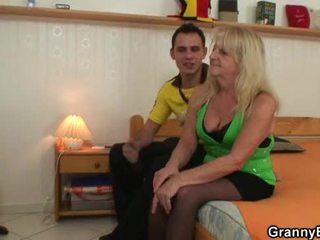 He brings blond grandma home for hard fuck