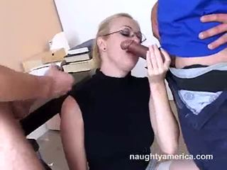 Adrianna nicole blows 2 zor meat weenies alternately