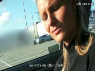 Euro blonde beauty roughly fucked inside the car in the parking lot for cash
