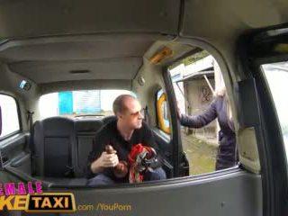 Femalefaketaxi runaway passenger restrained da dominant bionda driver
